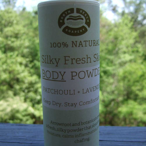 Natural Body Powder - Patchouli & Lavender.  Keep Dry.  Stay Comfortable