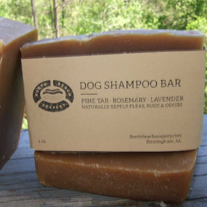 Dog Shampoo Bar - Pine Tar, Rosemary, Lavender. Naturally Repels Fleas, Bugs, and Odors