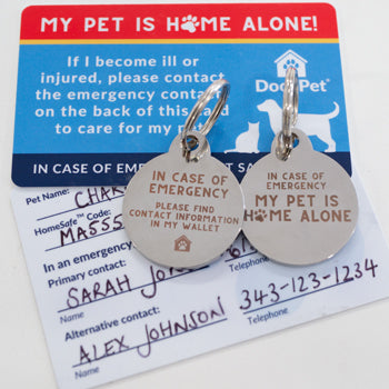 Pet Home Alone Kit - Emergency Pet Safety Wallet Card and Keychain