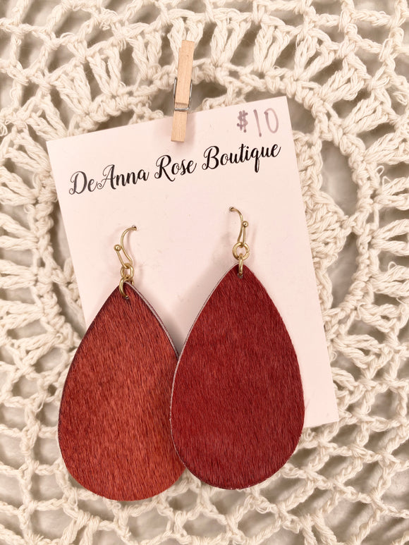 Red Fur Earrings