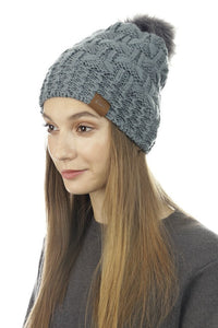 Puff Ball Hat (Grey)
