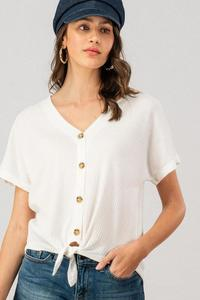 Front Tie Button Top (White)