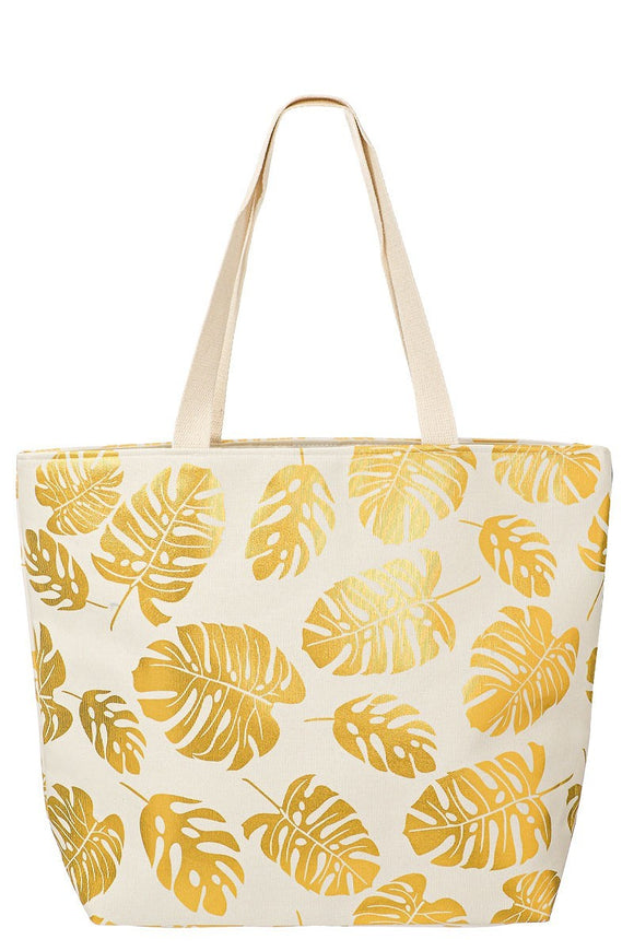Leaf Gold Beach Bag