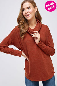 Extended Size Rust Turtleneck