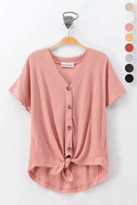 Front Tie Button Top (Rose)