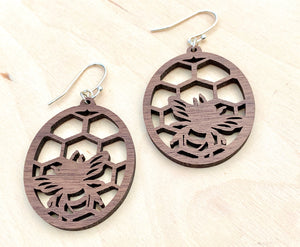 Bee Wooden Earrings