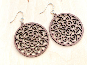 Circle Mandala Walnut Earrings