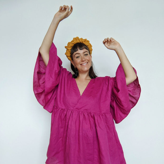 Magenta linen Maya Ruffle Dress hack