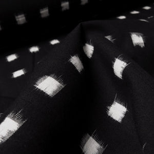 Cotton Ikat - Black + ivory windowpane 0.5m