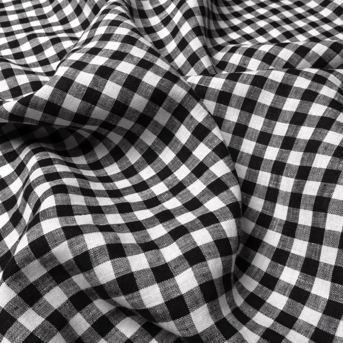 Linen - Black and white 1cm gingham check 0.5m