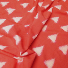 Load image into Gallery viewer, Cotton Ikat - Coral with ivory triangles 0.5m
