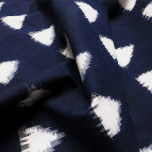 Cotton Ikat - Navy / Royal blue with ivory triangles 0.5m