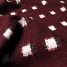 Load image into Gallery viewer, Cotton Ikat - Maroon + ivory windowpane 0.5m