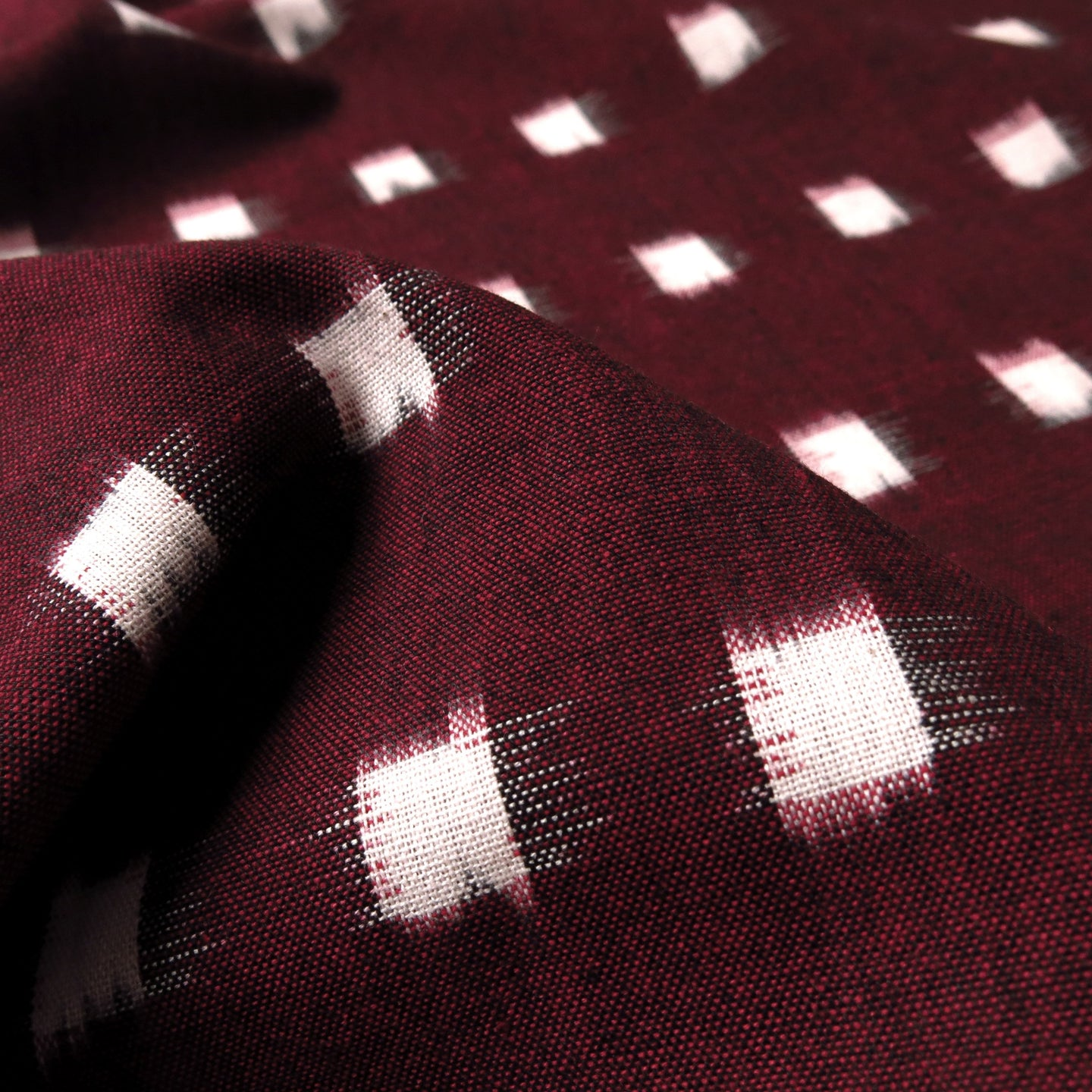 Cotton Ikat - Maroon + ivory windowpane 0.5m