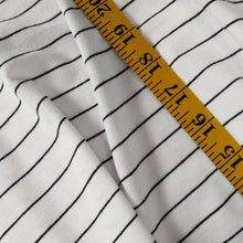 Load image into Gallery viewer, 100% cotton knit - White w black stripe 0.5m