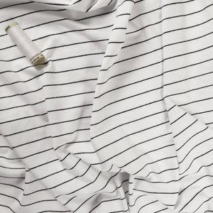 100% cotton knit - White w black stripe 0.5m