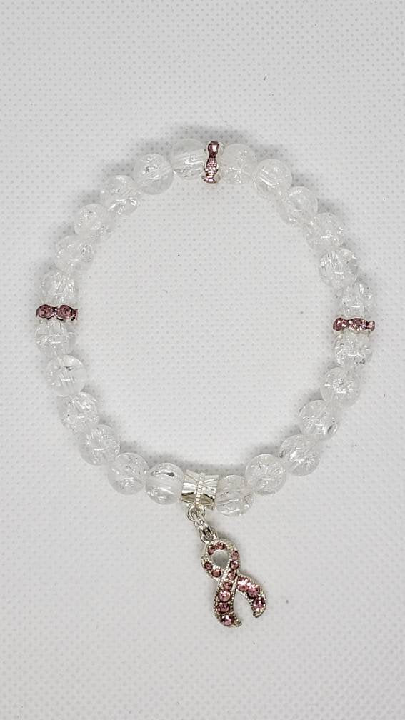 Pink Rhinestone Ribbon Breast Cancer Awareness Bracelet