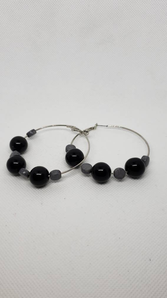 Black & Grey Hoop Earrings