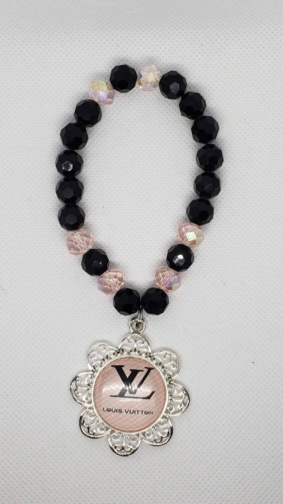 Black & Pink bracelet with Alloy Charm