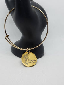Gold Queen Charm Bangle Bracelet