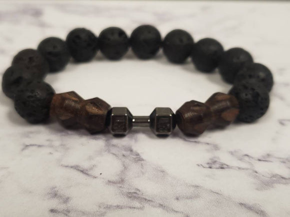 Black Lava Bead and Brown Charm Bracelet