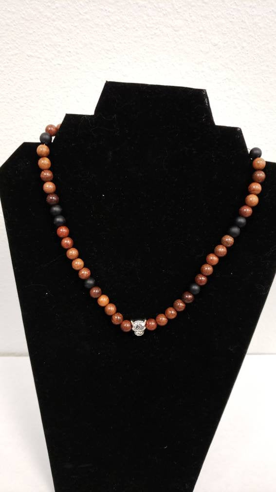 Brown Leopard Beaded Necklace