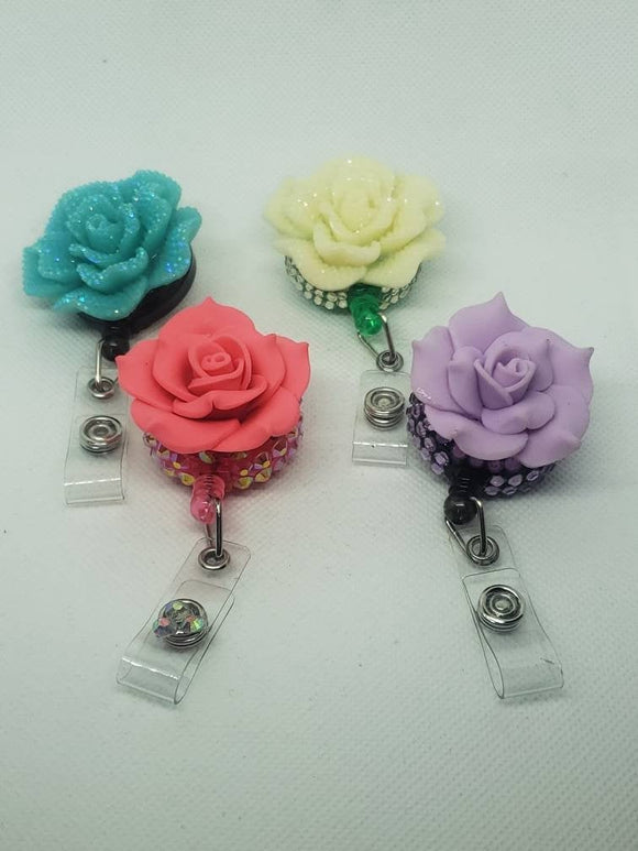 Flower Retractable Badge Holder