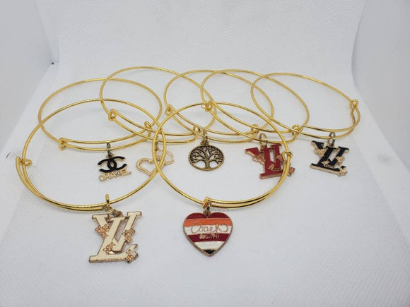 Gold Adjustable Charm Bangle