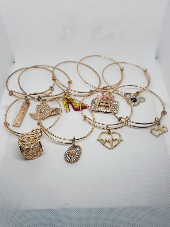 Gold Adjustable Charm Bangles