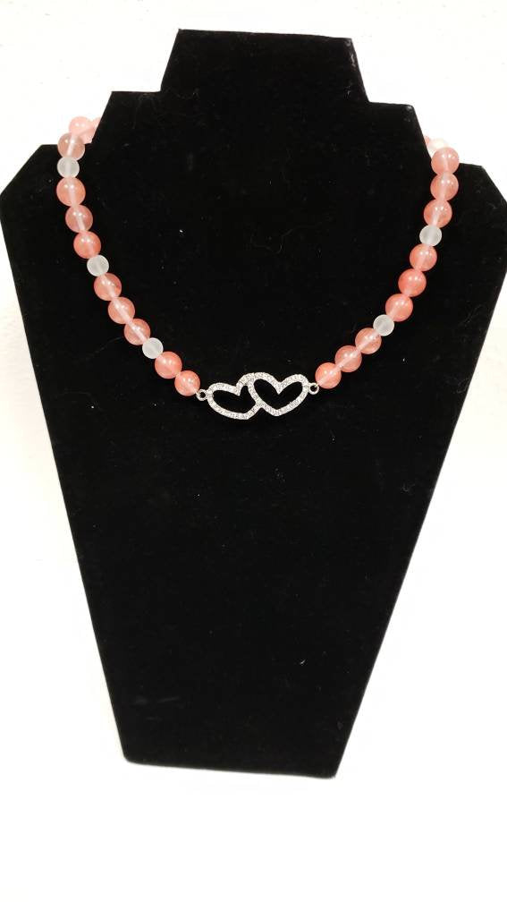 Pink beaded bracelet/double heart bracelet
