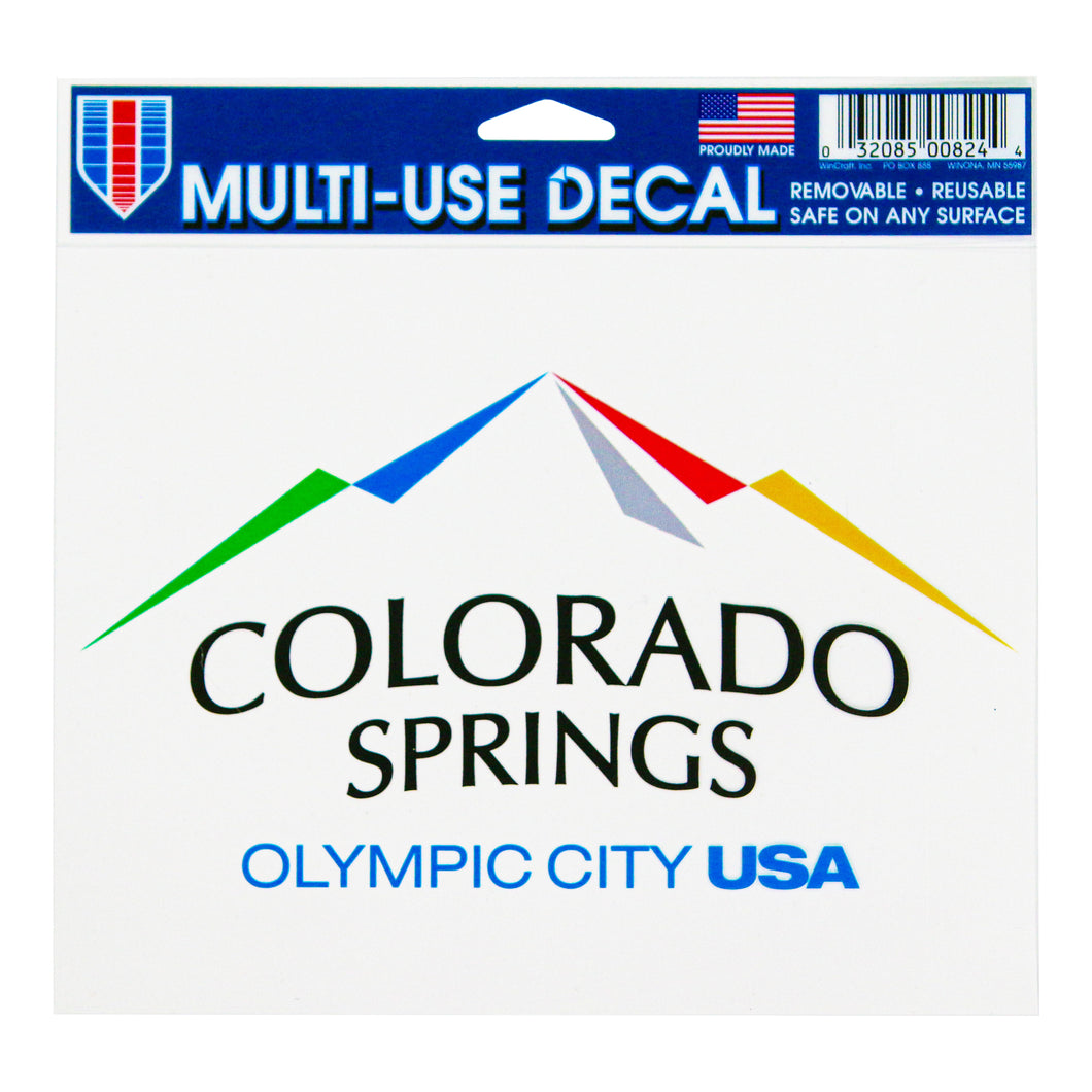 Sticker of the city of Colorado Springs: Olympic City USA logo inside of plastic packaging.