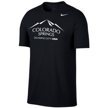 Load image into Gallery viewer, Black short sleeve T-shirt with a white version of the city of Colorado Springs: Olympic City USA logo screen printed onto it. White Nike logo printed underneath the shoulder.