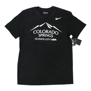 Black short sleeve T-shirt with a white version of the city of Colorado Springs: Olympic City USA logo screen printed onto it. White Nike logo printed underneath the shoulder.