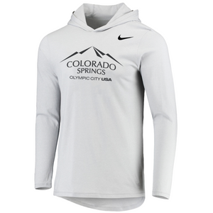 Marled light gray long-sleeve hoodie with a blakc version of the city of Colorado Springs: Olympic City USA logo. Nike logo on the right side under the shoulder.