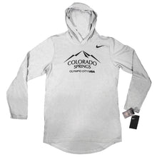 Load image into Gallery viewer, Marled light gray long-sleeve hoodie with a blakc version of the city of Colorado Springs: Olympic City USA logo. Nike logo on the right side under the shoulder.