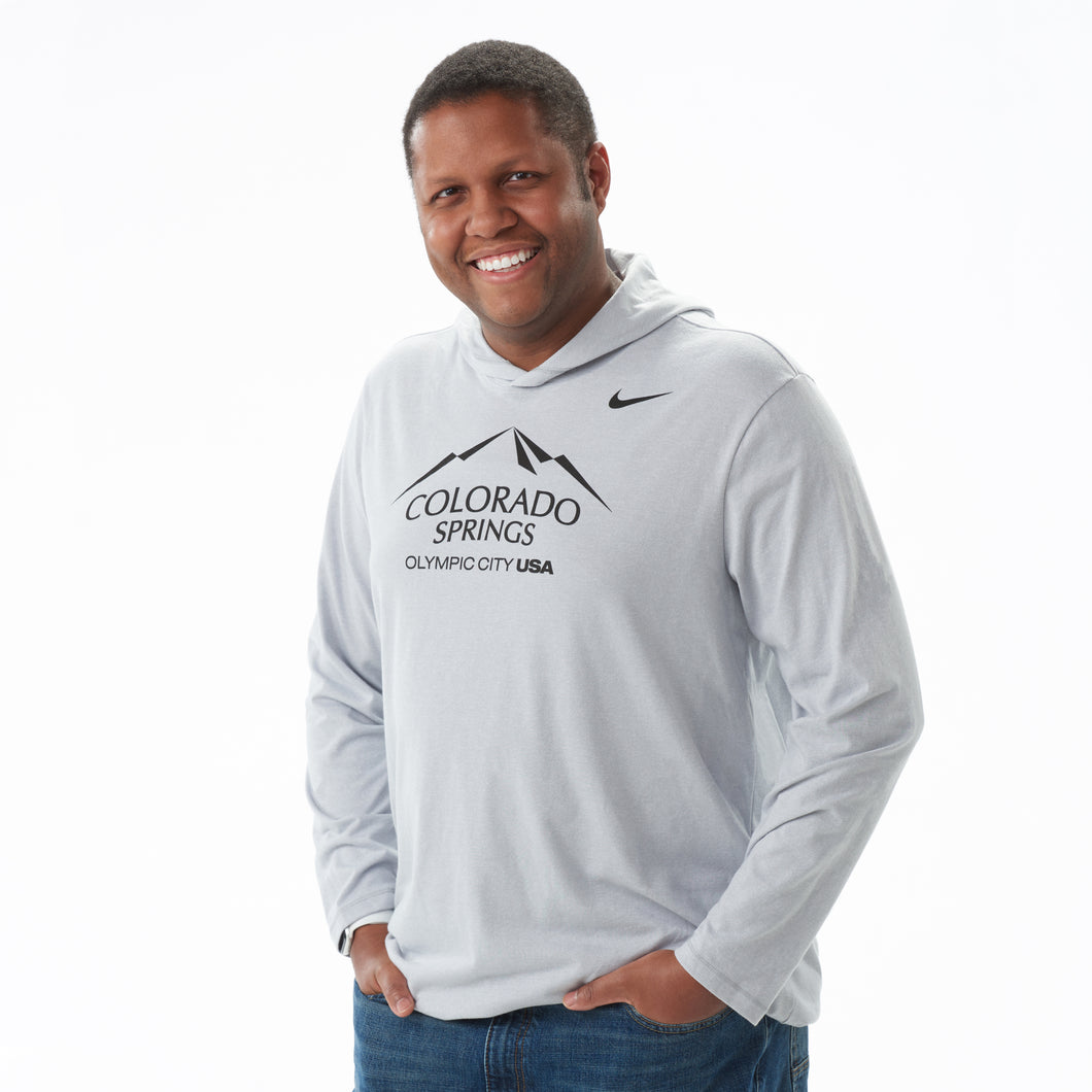 Men's Nike Marled Grey Long-Sleeve Hoody