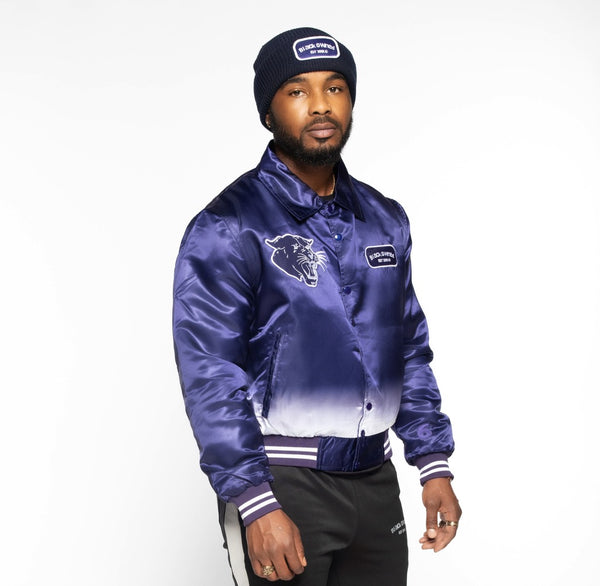 9 Navy Blue Vintage Panther Team Jacket (with White Gradient)