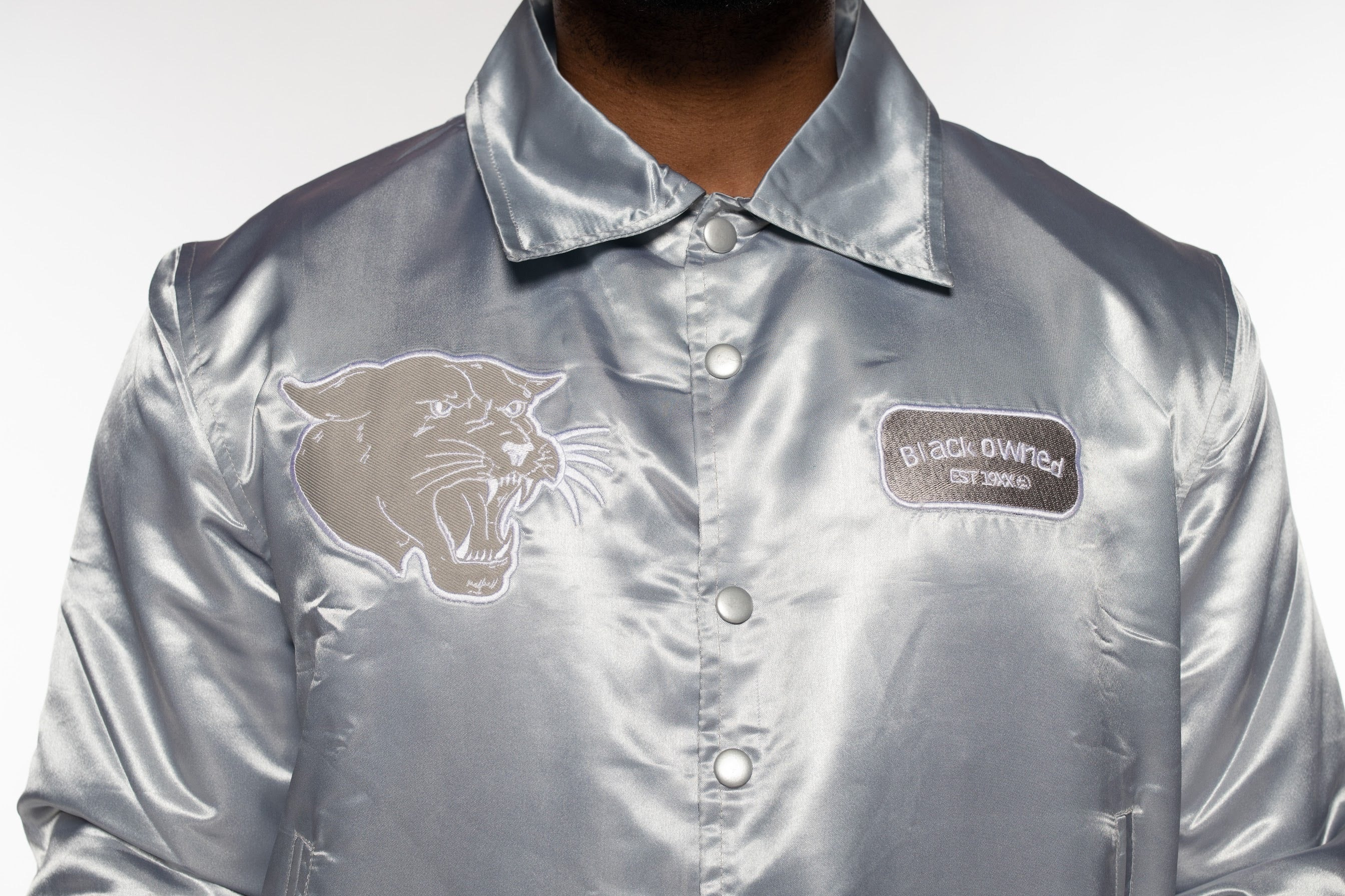 9 Silver Vintage Panther Team Jacket (with White Gradient)