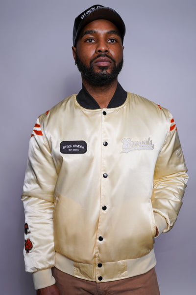 SDCE Premium Cream Satin Bomber Jacket