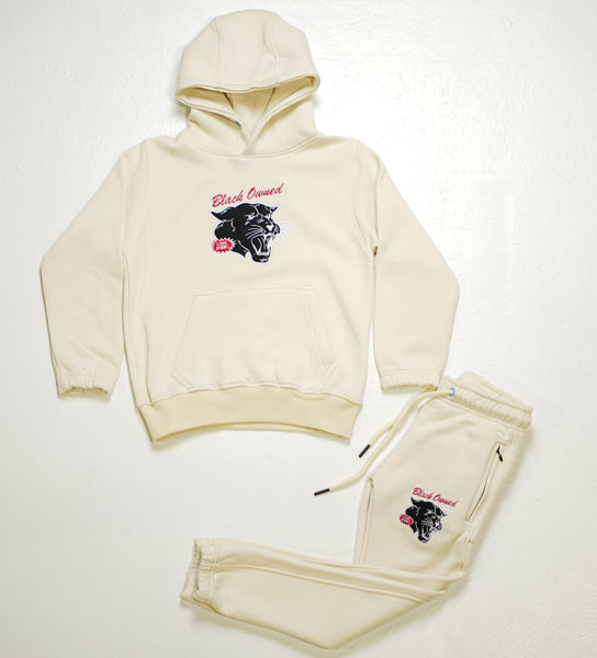 Cream Vintage Panther Pullover Set with Embroidery Details (Kids)