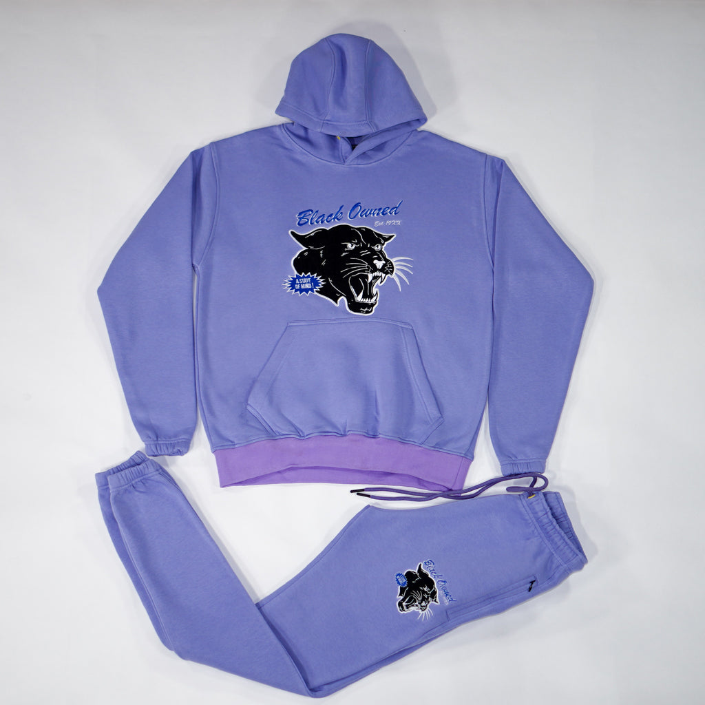 Lavender Vintage Panther Pullover Set with Embroidery Details