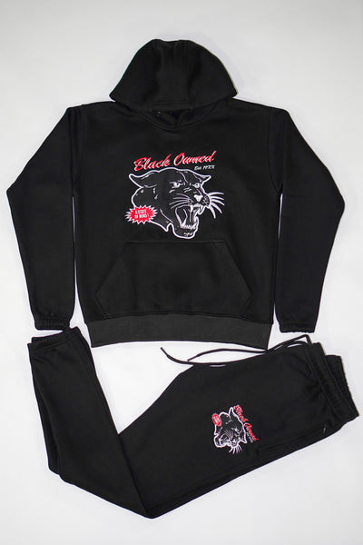 Black Vintage Panther Pullover Set with Embroidery Details