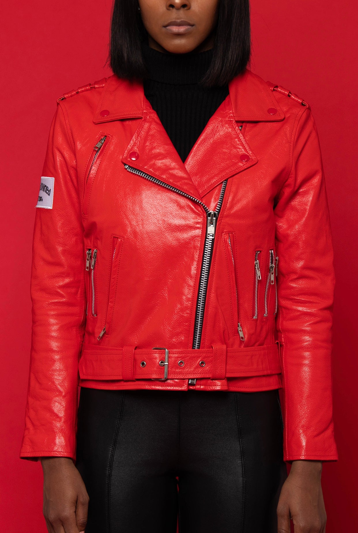 Women's Red Biker Jacket