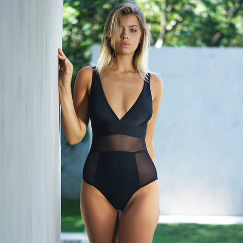Black Mesh Swimsuit Women Solid V-neck Hollow Out Monokini Swimwear