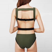 Load image into Gallery viewer, Army Green One piece Women Deep Vneck Patchwork Backless Monokini Swimwear