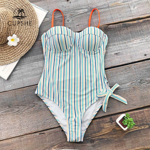 Blue And Orange Stripe Push Up Women Tied Bow Adjustable Monokini Swimwear Beach