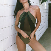 Load image into Gallery viewer, Army Green And Black Halter One piece Women Patchwork Backless Monokini Swimwear