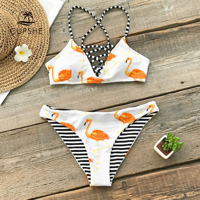 Orange Flamingo Reversible Bikini Women Lace Up Bathing Suit Swimwear