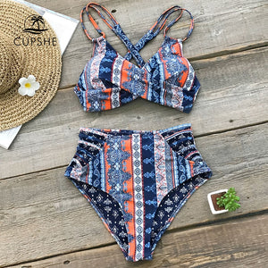 Boho Print Cross Front Push Up Bikini Women Lace up Strappy Swimwear