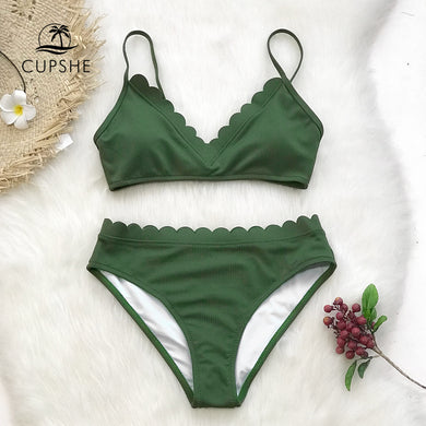 Green Scalloped Bikini Women Solid Two Piece Beach Bathing Suit Swimwear